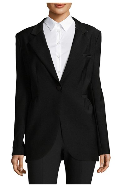 Adam Lippes Notch Lapel Blazer in black - Eye-catching blazer tailored from wool-blend fabric....
