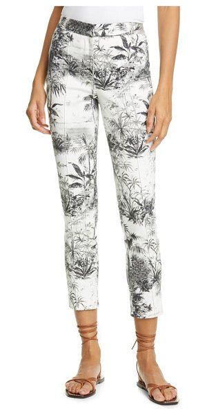 Adam Lippes palm print stretch twill ankle cigarette pants in palm ivory/ black