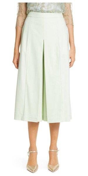 Adam Lippes pleated tropical stretch wool culottes in pistachio