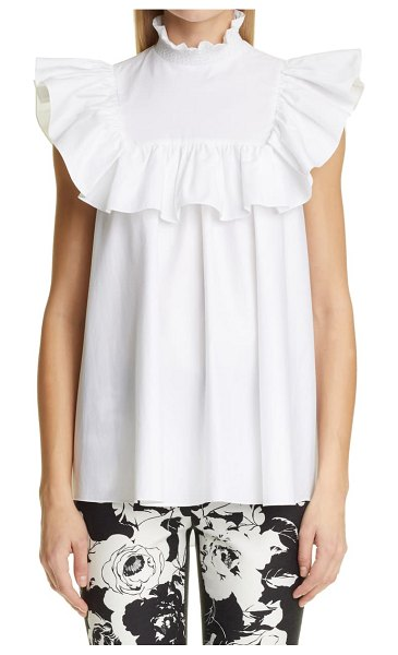 Adam Lippes smocked neck ruffle swing top in white