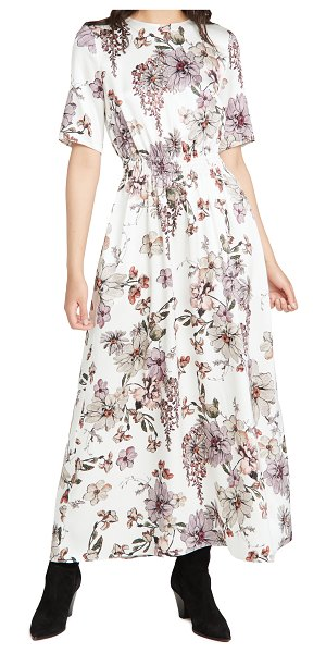 Adam Lippes smocked waist gown in printed charmeuse in white floral