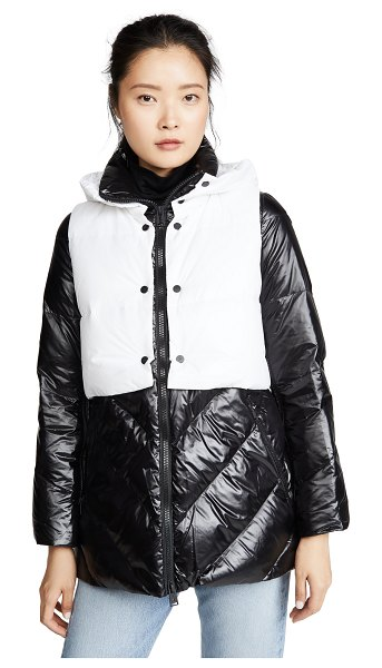 Add Down down jacket with detachable hooded vest in black/wind
