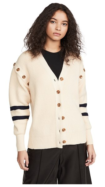 Adeam chunky sailor cardigan in oyster beige