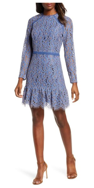 Adelyn Rae alicia long sleeve lace cocktail dress in blue-violet
