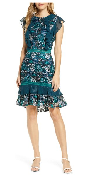 Adelyn Rae annie lace cocktail dress in teal-green