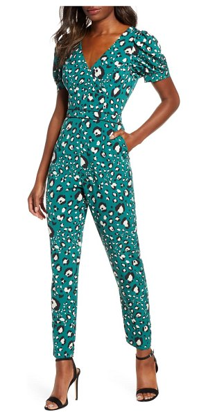 Adelyn Rae lilith animal print jumpsuit in ivy multi