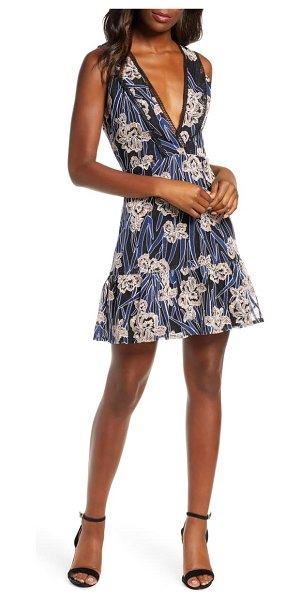 Adelyn Rae tassia embroidered fit & flare dress in blue-multi