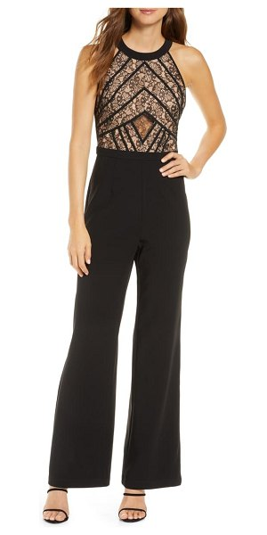 Adelyn Rae tay lace bodice wide leg jumpsuit in black-nude
