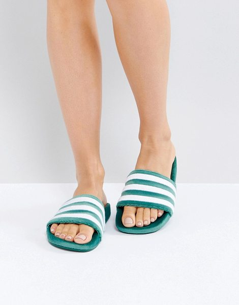 ADIDAS ORIGINALS Adilette Velvet Slider Sandals In Dark Green - Sandals by Adidas, Velvet upper, Slip-on style, Signature...