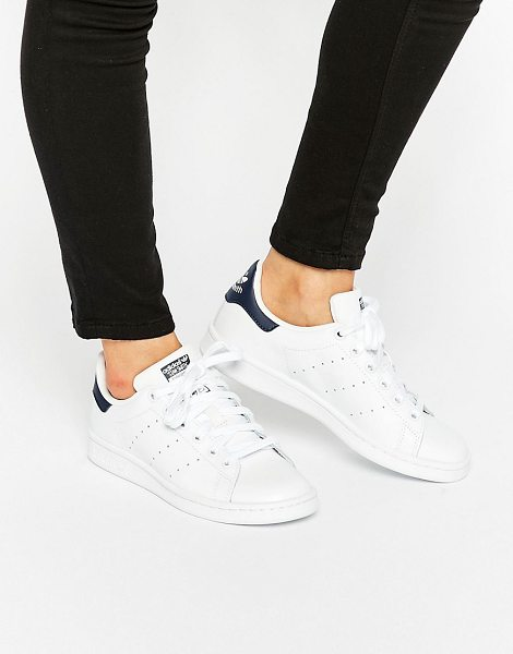 adidas Originals white and navy stan smith sneakers in white