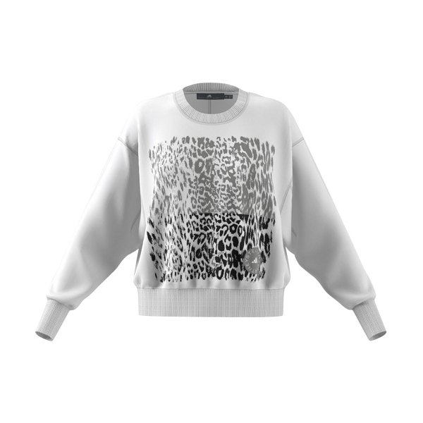 adidas by Stella McCartney graphic leopard-print sweatshirt in white