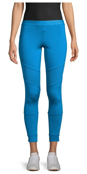 adidas by Stella McCartney Logo-Taped Cropped Leggings in blue