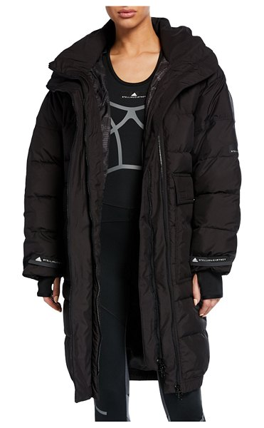 adidas by Stella McCartney Long Padded Active Jacket with Hood in black