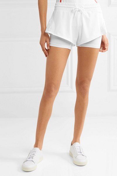 adidas by Stella McCartney perforated stretch shorts in white