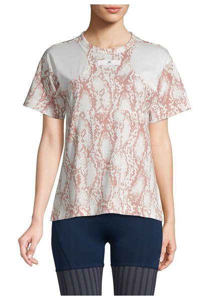 adidas by Stella McCartney Snakeskin-Print Cotton-Blend Top in white pink