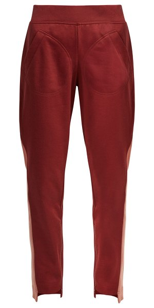adidas by Stella McCartney train cotton blend track pants in burgundy