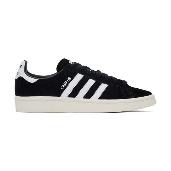 adidas Originals black nubuck campus sneakers in blk,wh