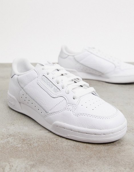 adidas Originals continental 80's in white and silver in white