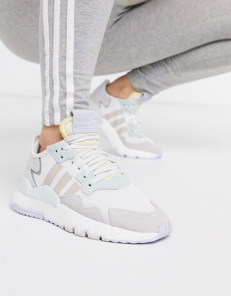 adidas Originals nite jogger in white and ice mint in white