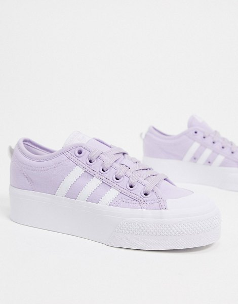 Adidas originals nizza platorm sneakers in lilac and white in white