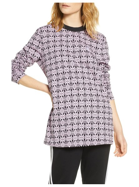 adidas Originals print long sleeve t-shirt dress in magic berry/ black