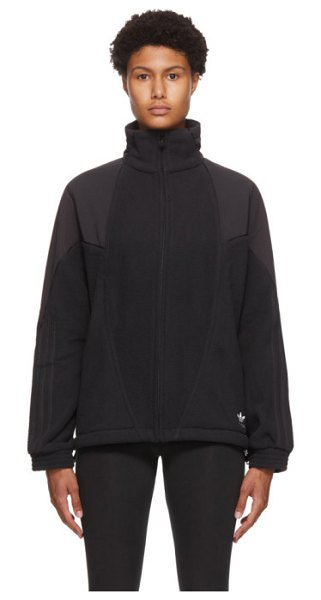 adidas Originals sherpa big trefoil track jacket in black