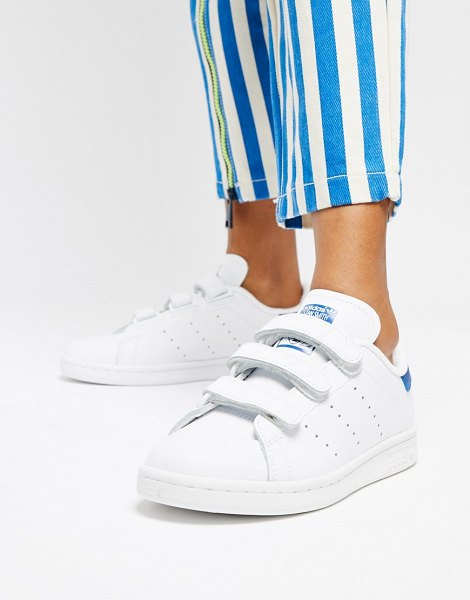 adidas Originals stan smith velcro sneakers in white and blue in whiteblue - Sneakers by adidas, Box shows US and European size to be...