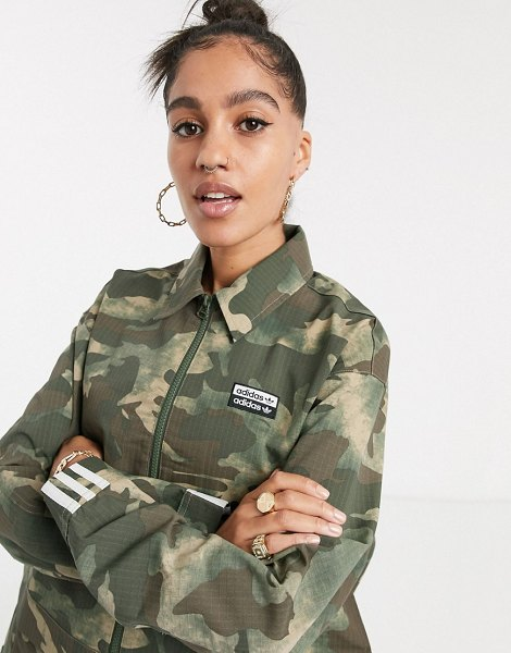 adidas Originals vocal cropped jacket in camo-green in green