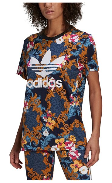 adidas Originals x her studio floral accent graphic logo tee in black multicolor