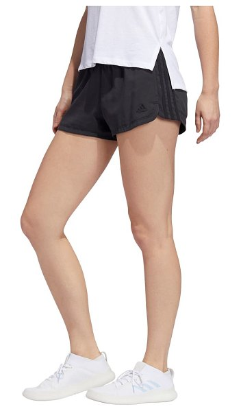 Adidas pacer 3-stripe woven shorts in black/ black