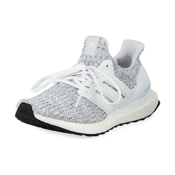 Adidas Ultraboost Knit Sneakers in white - Adidas stretch-knit sneakers with leather trim and...