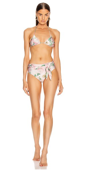 ADRIANA DEGREAS dahlia high leg bikini with knot in off white