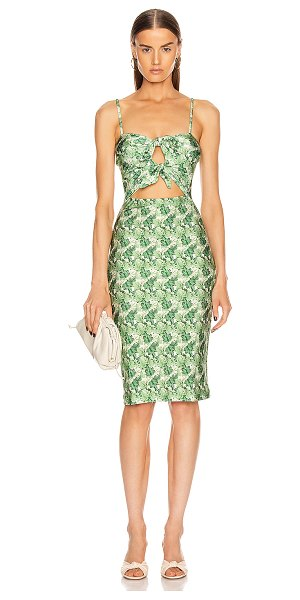 ADRIANA DEGREAS dahlia midi dress with double knot in green