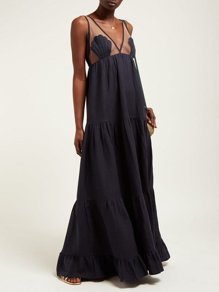 ADRIANA DEGREAS marine tulle panel linen blend maxi dress in navy - Adriana Degreas - Designer Adriana Degreas draws...