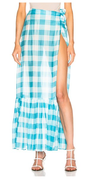 ADRIANA DEGREAS vichy long pleated skirt in blue & white