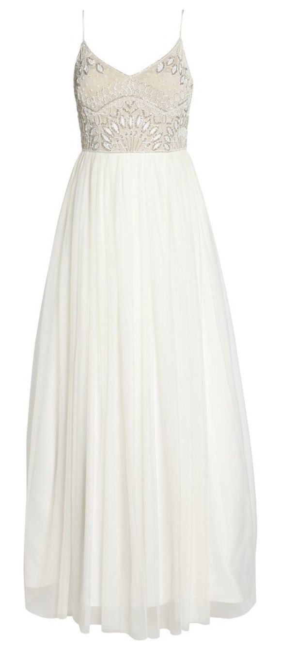 Adrianna Papell Beaded Bodice Mesh Fit Flare Gown In Beige Shopstasy