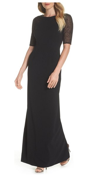 Adrianna Papell Beaded Column Gown in Black | Shopstasy