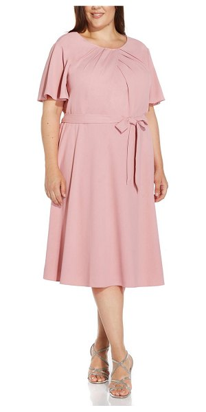 Adrianna Papell draped divine tie waist crepe a-line dress in smoky rose