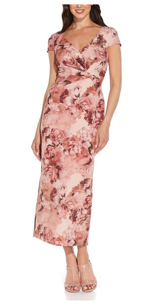 Adrianna Papell floral metallic column gown in rose multi