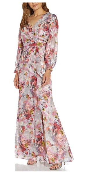Adrianna Papell floral print long sleeve chiffon gown in rose multi