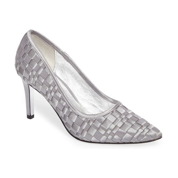Adrianna Papell hasting pointy toe pump in pewter satin - A trendy woven upper distinguishes a contemporary pump...
