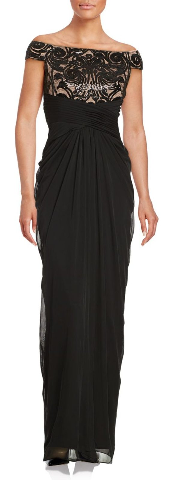 Adrianna Papell Off-the-Shoulder Sequined Dress in black - Lovely chiffon dress highlighted in sequins and pleated...