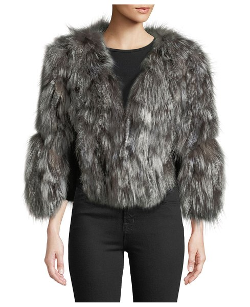 Adrienne Landau Fox Fur Jacket w/ Leather Inserts in natural - Adrienne Landau dyed fox (China) fur jacket. V neckline;...