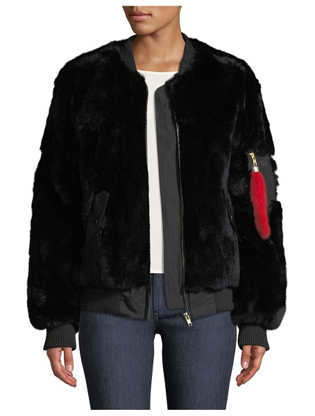 Adrienne Landau Rex Rabbit Fur Varsity Jacket in black - Adrienne Landau varsity jacket in dyed rabbit (China)...