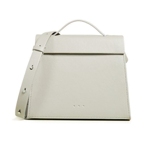 AESTHER EKME mini triangle satchel in concrete - Leather: Lambskin Magnetic closure at front Patch...