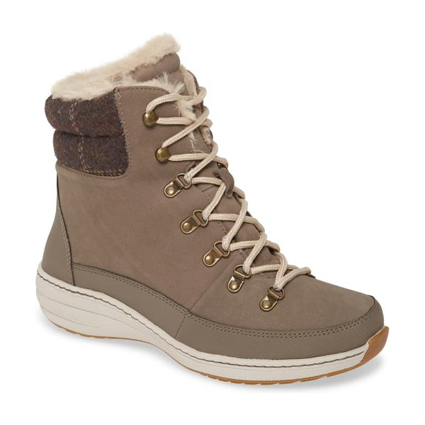 Aetrex jodie faux fur lined waterproof boot in warm grey leather