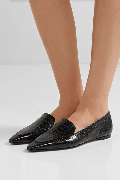 aeyde aurora glossed croc-effect leather loafers in black