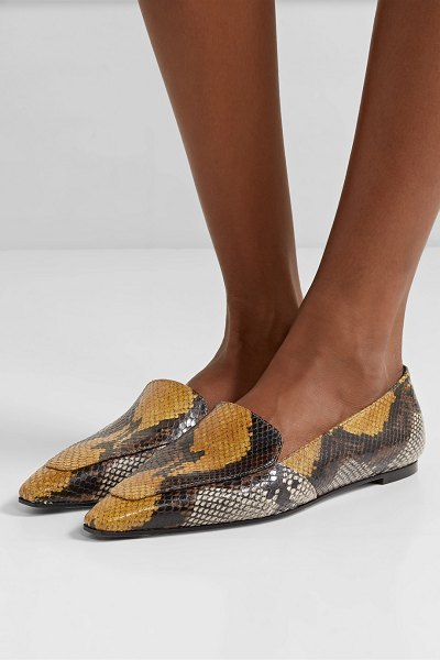 aeyde aurora snake-effect leather loafers in snake print