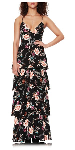 AFRM berlin floral tiered crepe maxi dress in noir summer garden