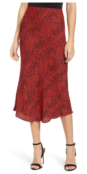 AFRM brynne print midi skirt in rouge leopard - A long and lean midi skirt ends in a just-right flounced...